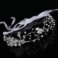 New Full Handmade Bride Dress Accessory Fashion Wedding Hair Rhinestone Pearl Ribbon Headband Silver Gold Colors