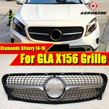For MercedesMB GLA Class Sports X156 Diamonds Grille Front Bumper Racing Grill GLA180 GLA200 250 GLA45 Look grills Silvery 14-16
