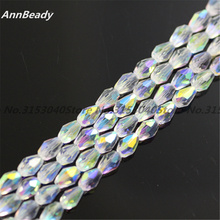 70pcs Clear White ab Color 4*6mm Teardrop shape Loose Austria Crystal Waterdrop Beads For Jewelry DIY Making Accessories