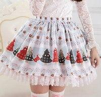Christmas Women Skirts Winter Christmas Tree Print Super Cute Lolita Princess Skirt Girls New Year Party
