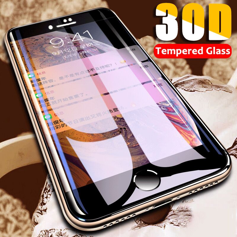30D Curved Edge Protective Glass On The For IPhone 7 8 6 6s Plus Tempered Screen Protector For IPhone 11 Pro X XR XS Max 7 Glass