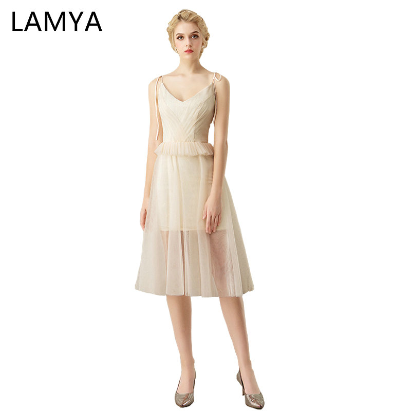 LAMYA Princess Elegant Champagne Prom Dress 2019 Short Tulle A Line Evening Party Dresses Plus Size Pleat Special Occasion Gowns