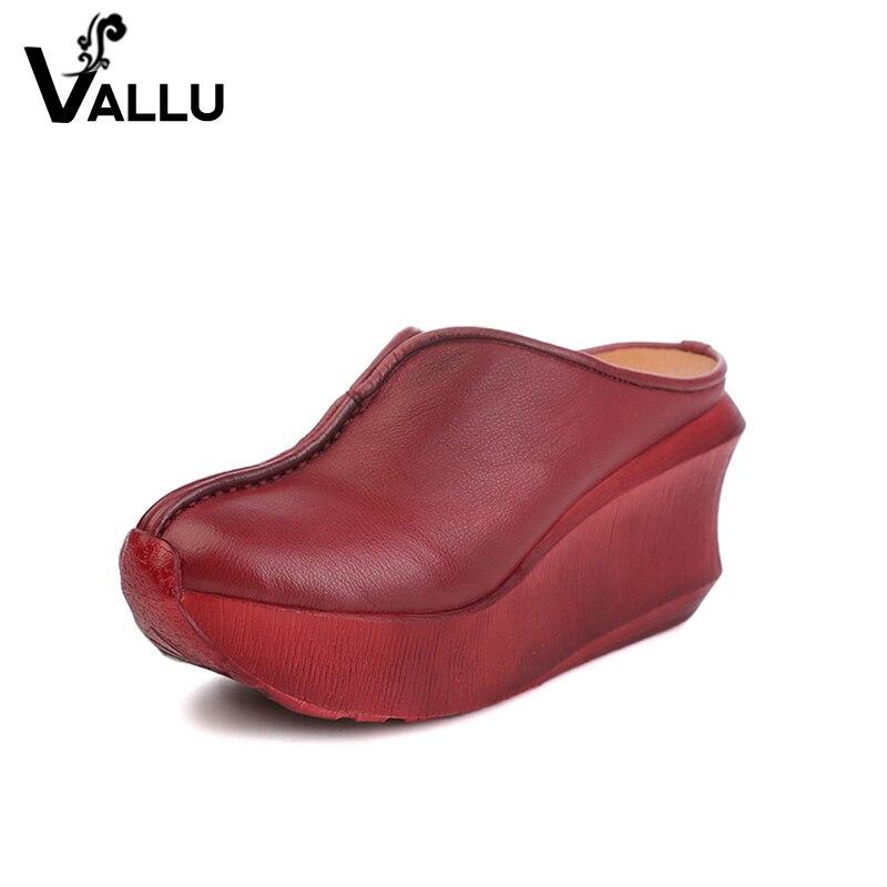 Zeppe Pantofole Donne 2018 Scivoli Sandali Scarpe Delle Donne Del Cuoio Genuino Punta Chiusa Handmade Delle Donne Comode Scarpe Basse