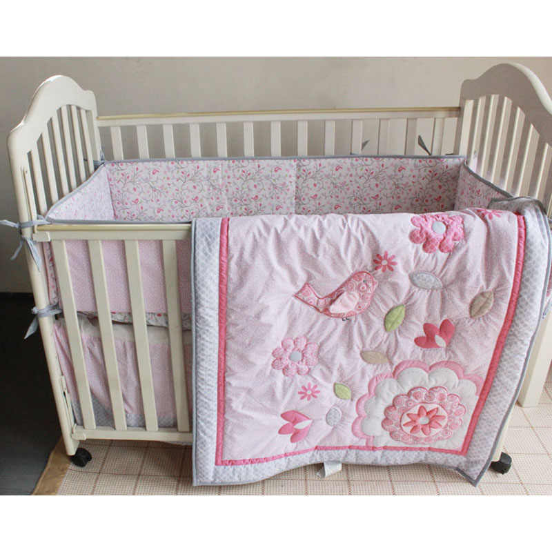 Baby Bedding Set Happy Birdie Baby Crib Set For Girl Toddler Baby Bed Set Quilt Mattress Sheet Skirt Crib Protector Bumpers