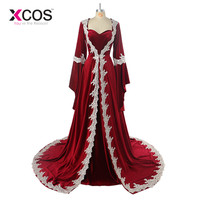 Burgundy Velvet Saudi Arabic Dubai Kaftan Long Sleeve Evening Dress 2017 Appliques Elegant Islamic Women Dress Robe De Soiree
