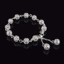 Retro Hollowed out Ball Bangles Bracelet For Women Charm Silver Plated Cuff Jewelry Girls Gift Dropshipping Wholesale chic hollowed geometric cuff bracelet for women