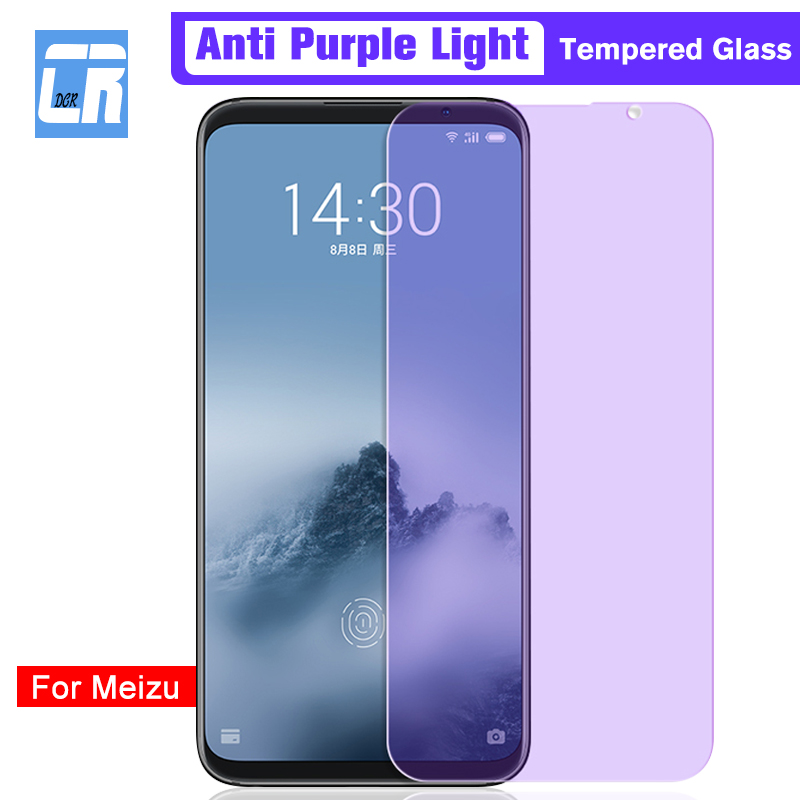 Full Cover Anti-Blue Purple Light Tempered Glass For Meizu Note 8 9 15 16 Plus Screen Protector For Meizu 6T 16X V8 X8 M6S Film