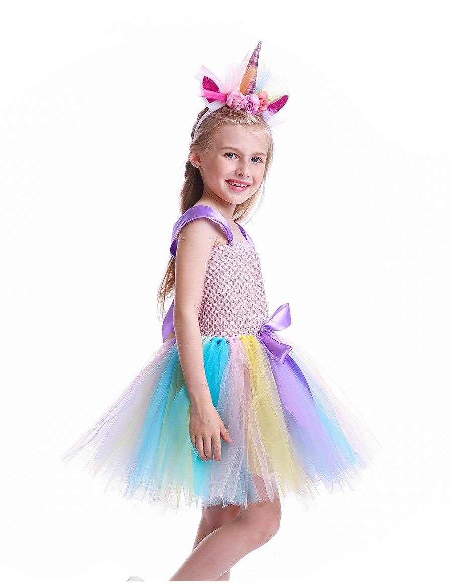 Girls Rainbow Tutu Dress with Unicorn Headband Children Princess Fancy Party Dress Christmas Halloween Kids Pony Costume (8)