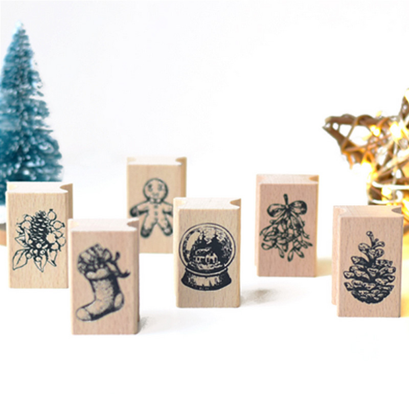 1 x Mini Vintage Christmas gift stamp wooden rubber stamps for scrapbooking stationery DIY craft standard stamp retro postmark plant gift stamp diy wooden rubber stamps for scrapbooking stationery scrapbooking standard stamp