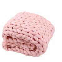 2018ソフト太線ジャイアント糸ニット毛布手織の写真撮影の小道具毛布編み毛布春秋