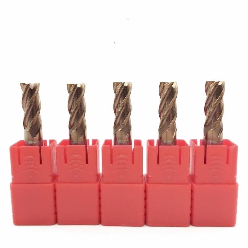 5Pcs 4F-D12*75L HRC60 carbide End Mills tungsten Carbide Square Flatted End Mill 4 Flute Cutting diameter 12mm Milling Cutter