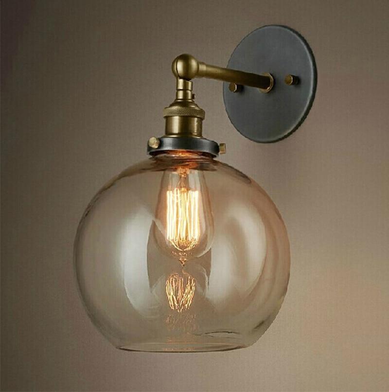 Retro starožitné nástěnné lampy čiré sklo stínítko Indusrial Vintage nástěnná svítidla E27 110V / 220V noční dekorace nástěnné svítidlo