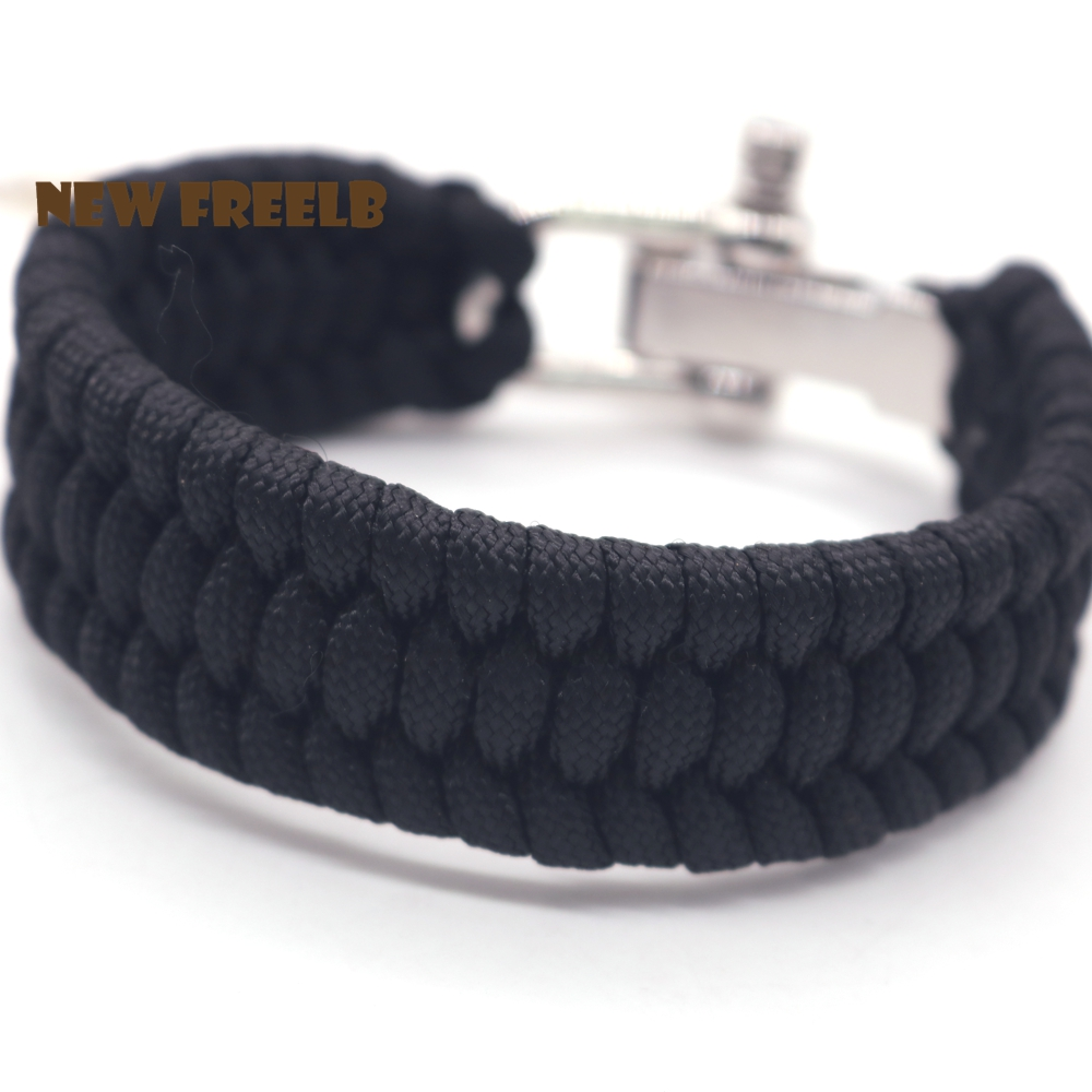 New FREELB Personalized Paracord Survival Bracelets Black Red Camping Hiking Watching Handmade for men Father Gift Adjustable in Cuff Bracelets from Jewelry Accessories