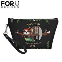 Cute Sloth Printing Cosmetics Bag for Women Girls Folivora PU Leather Beauty Makeup Pouchs Female Beautician Travel Toiletry