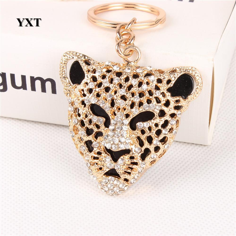 Leopard Head Cute Crystal Charm Přívěsek Móda Taška Kabelka Car Key Keyring Keychain Oblíbený Creative Gift