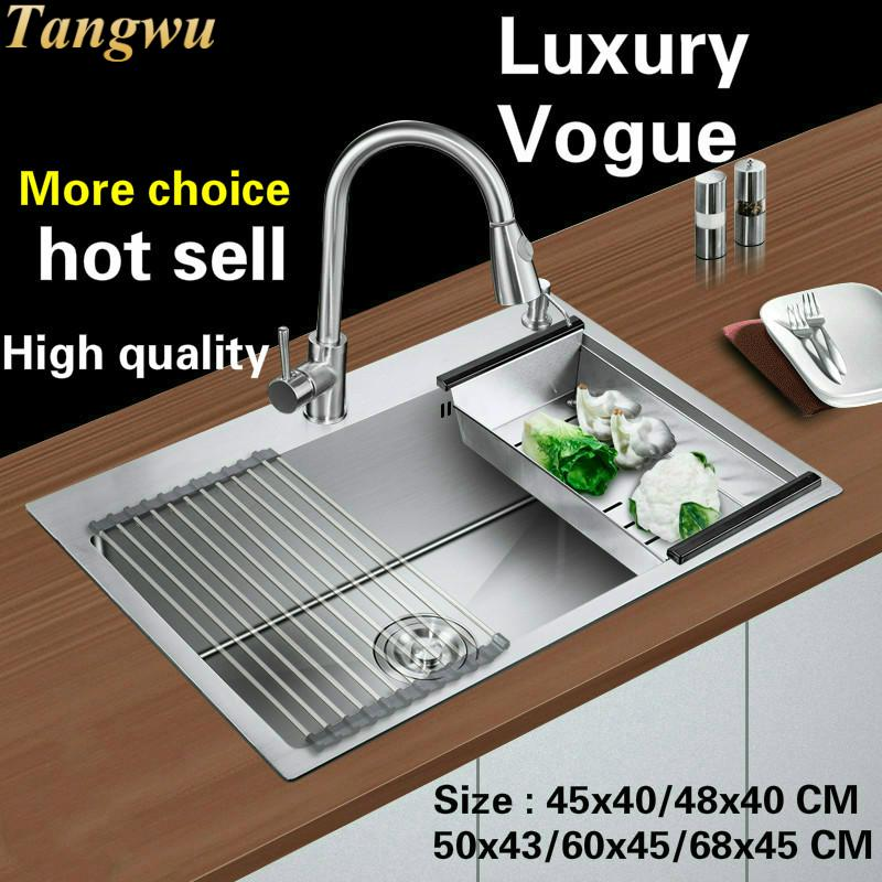 Free Shipping Standard Fashion Kitchen Sink Food Grade Stainless Steel Single Slot Hot Sell 45x40/48x40/50x43/60x45/68x45 CM