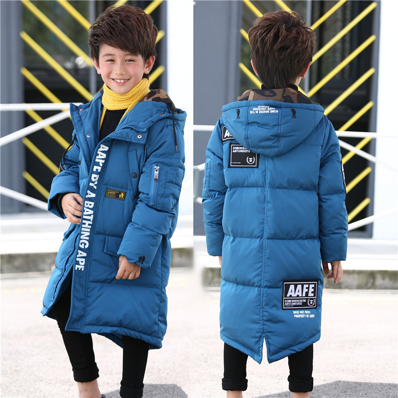 Children jacket boy's warm winter long outerwear 2017 teenagers new big kids down jacket coat for 7-12T a15 girls jackets winter 2017 long warm duck down jacket for girl children outerwear jacket coats big girl clothes 10 12 14 year
