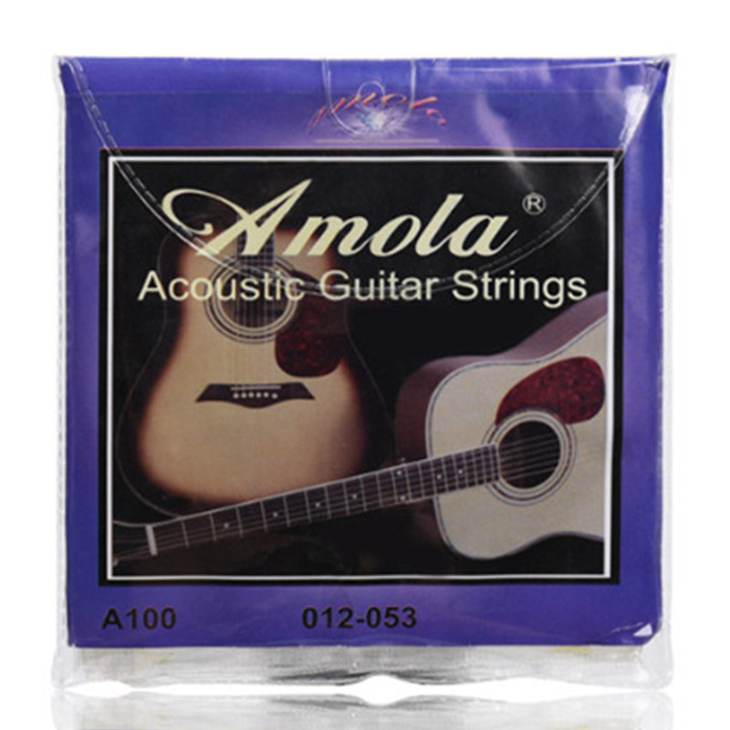 Amola Acoustic Guitar Strings set 010 012 011 Pure Copper 1set For Wooden guitar A100 A110 A120 alice 12 strings guitar strings for 12 strings acoustic guitar stainless core coated copper alloy wound a2012