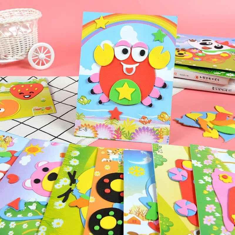 Расширенное издание DIY мультфильм животных 3D стикеры с пеной эва головоломка игрушки для детей девочек действие обучения Образование игрушки подарок на день рождения