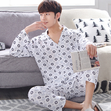 Men Pajamas Set Long Sleeve Cotton Plaid Pajamas Nightwear Sleepwear Man Pyjamas Plus Size XXXL Autumn Winter Homewear Pyjama