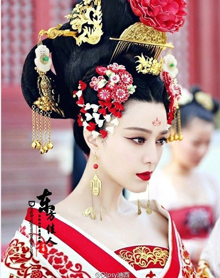 TV Play Great Tang Empress - Wu Meiniang Actress Costume Hanfu Hair Accessory Hair Jewelry Set oriental beauty costume hanfu hair accessory set princess guantao hair set tv play schemes of a beauty full set hair jewelry