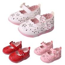 Scolour освещенные подошве полые бантом сандалии принцесса мягкой малышей новые девушки