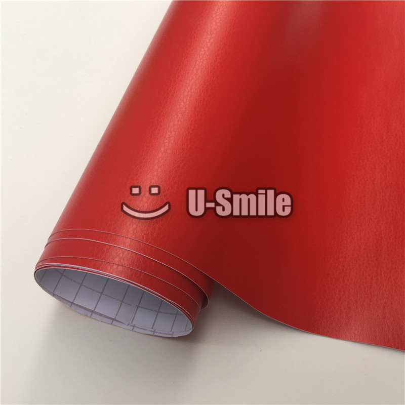 Red Leather Vinyl Wrap Leather Pattern Car Sticker Internal Decoration Size:1.52*30m/Roll creative devil pattern car decoration sticker red golden
