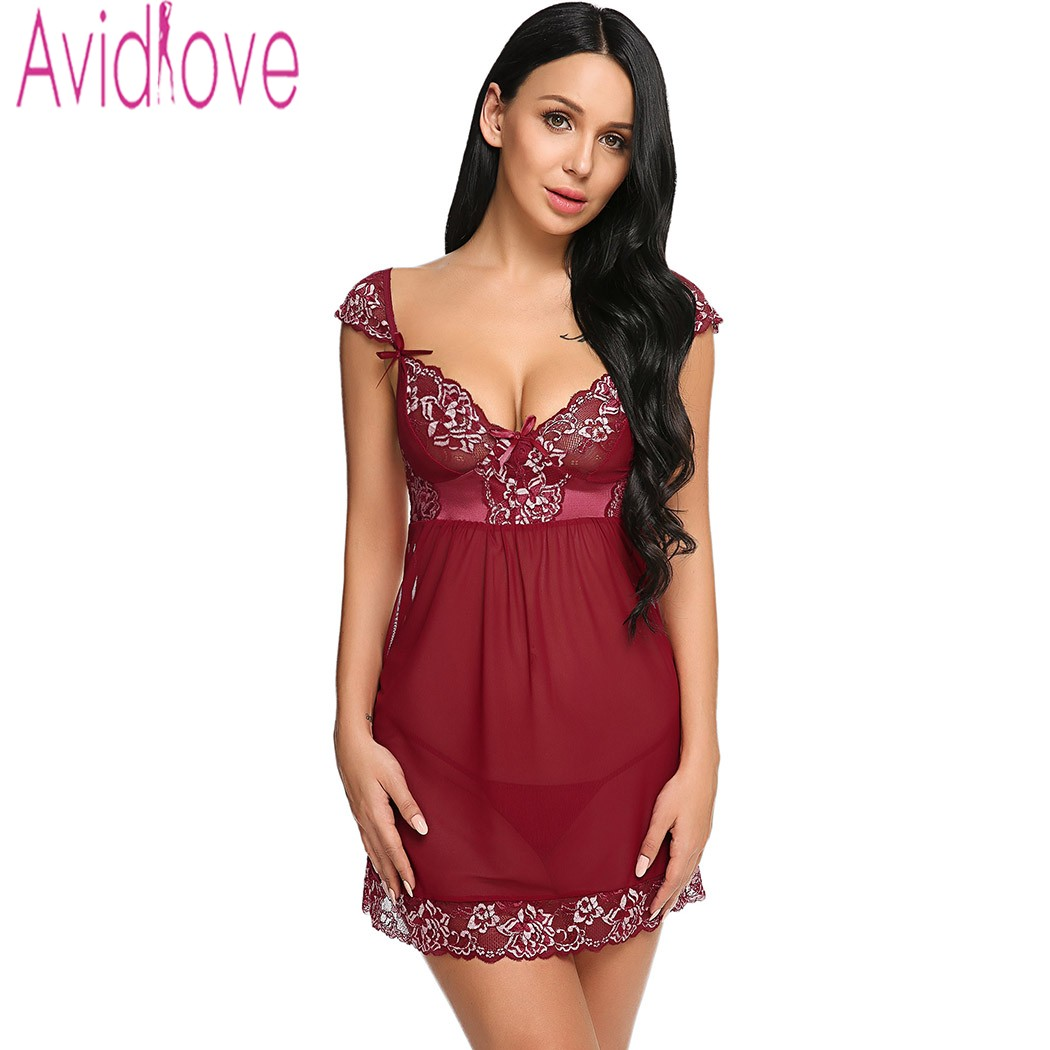 Avidlove Female Hot Erotic Lingerie Nightwear Cap Sleeve Lace-trimmed Hem Bow Decor Sexy See Through Mini Babyboll with Thong