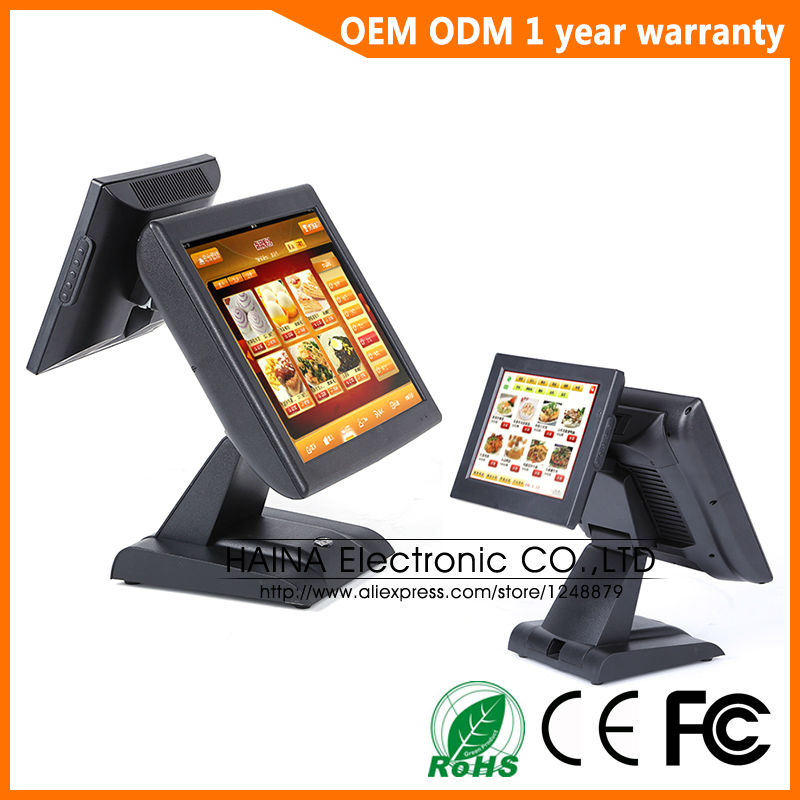Image 2 - 15 inch All In One Touch Screen POS System Dual Screen POS Terminal-in Desktops from Computer & Office
