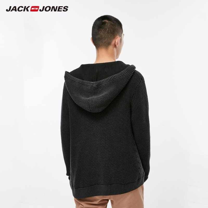 JackJones мужской свободный крой матовый с длинными рукавами вязаный свитер куртки мужчины молния вязаное толстое пальто C | 218324545