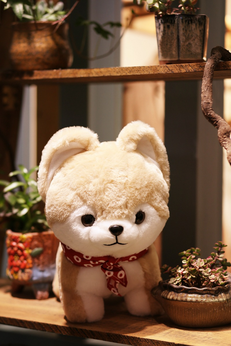 lovely red scarf dog yellow Shiba Inu plush toy large 35cm soft doll throw pillow toy Christmas gift b1515 large 70cm prone husky dog stuffed plush toy soft throw pillow christmas gift w1907