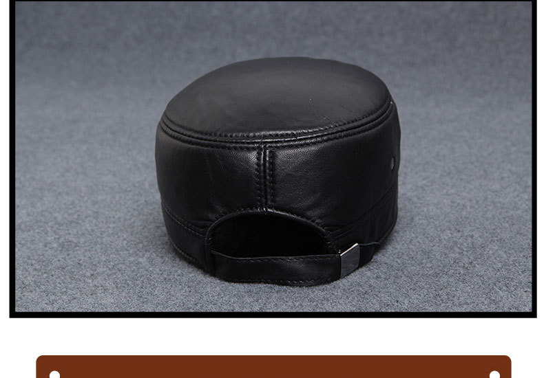 Autumn winter sheepskin hat male flat cap leather men outdoor leisure cap Leather Hat _15