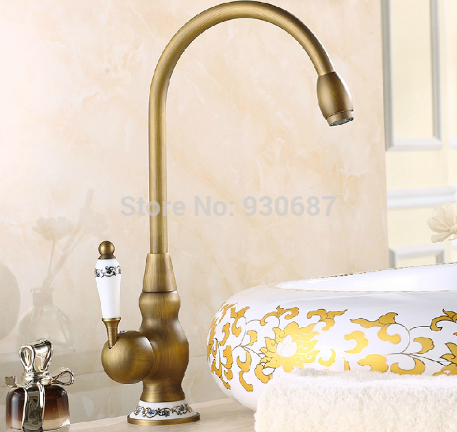 Swivel Spout Antique Brass Kitchen Faucet Single Ceramic Handles Mixer Tap