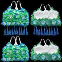 Fashion Hula Lei Flower Bra Floral Camisoles Tassel Pendant Bra Fancy Dress Costume Hawaii Smmer Beach