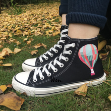 Wen Men Women's High Top Canvas Shoes Hot Air Balloon Sky Design Flats Black Sneakers for Christmas Gifts