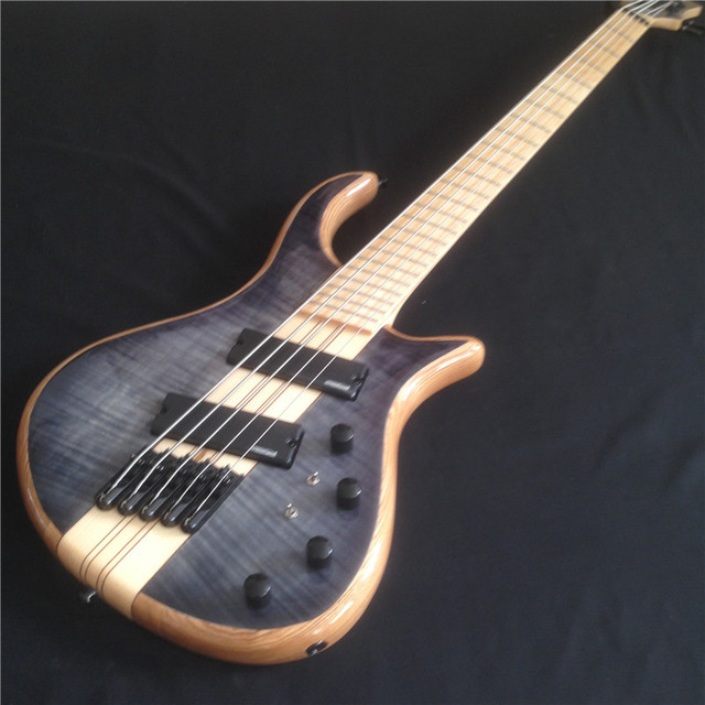 Power Supply 5 Strings Bass Guitar With One Piece Elm Body And Black HardwareCool