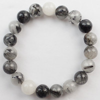 Free Shipping 1Strand 8mm Black Rutilated Quartz Round Beads Stretchy Bracelet 7 5 Inch SHX1665 Min
