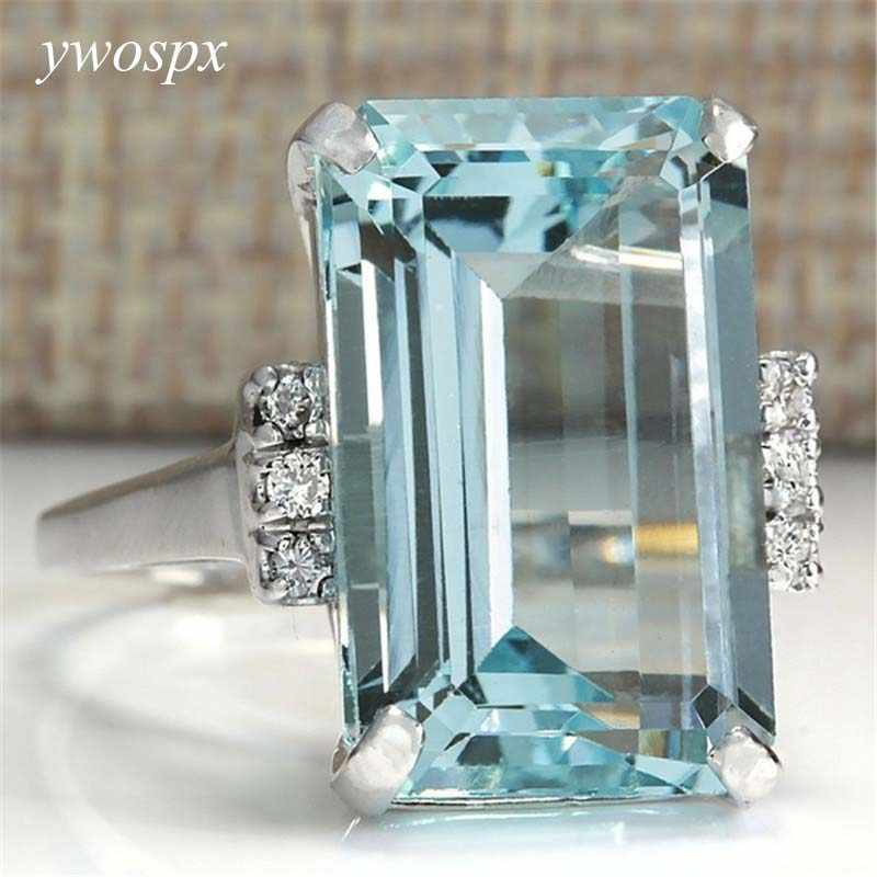 YWOSPX Big Blue CZ Cubic Zircon Stone Silver Color Rings for Women Fashion Jewelry Valentines Day Gift Wedding Love Ring Anel