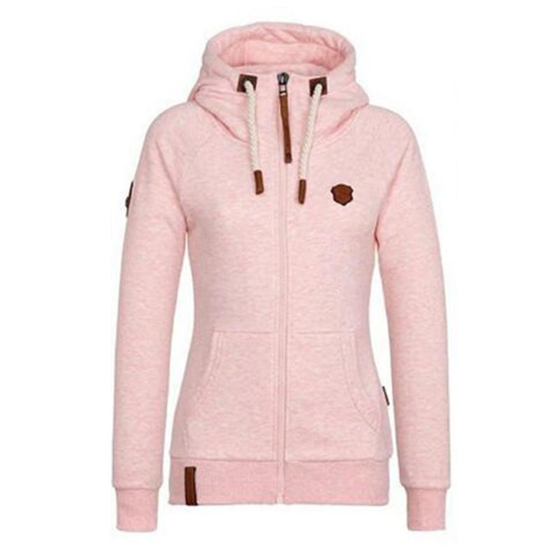 Women Fleece Hoodies Sweatshirt Ladies Hooded Zipper ...