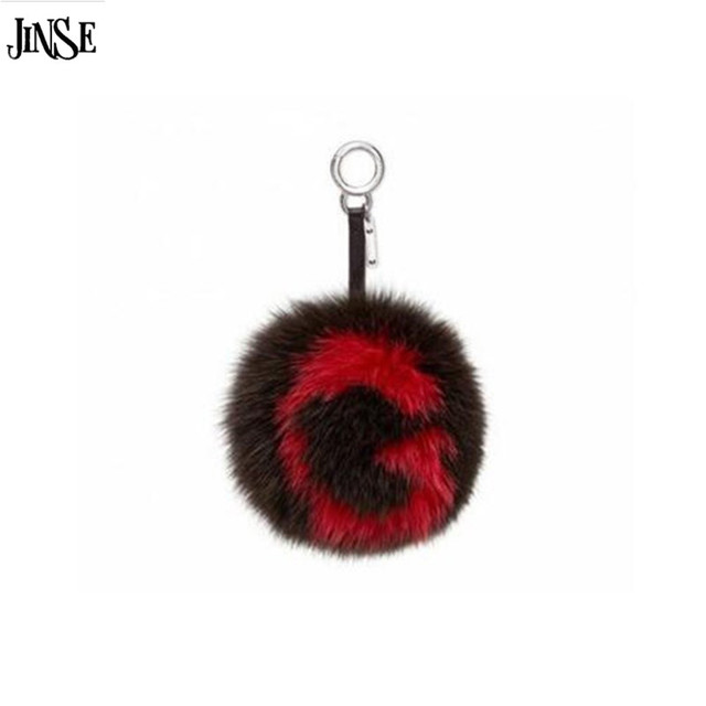 JINSE Customized initial letters real fur karl pompom monster bag bugs key chain car bag pendant furry ball New Fox Fur chain