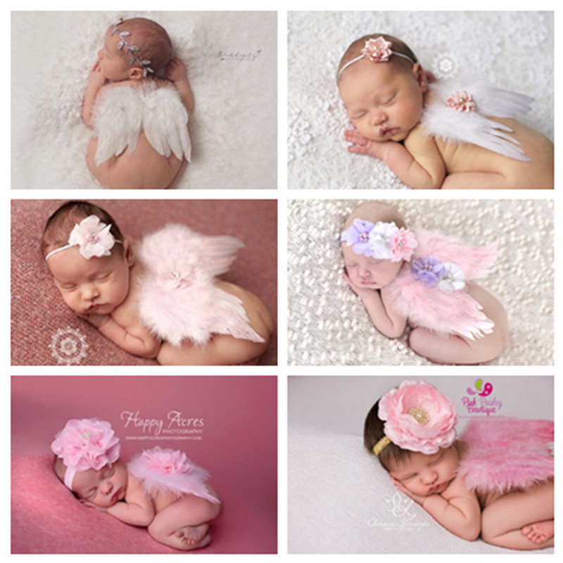 0-6M Newborn White Angel Photo Props Baby Girls Angel Wings Wing Set Feather Newborn Photography Props кукла an gaga hand white angel set blythe yosd pullip dal