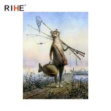 RIHE Fishing Cat Diy Painting By Numbers Animal Oil Painting On Canvas Hand Painted Cuadros Decoracion Acrylic Paint Home Decor цена