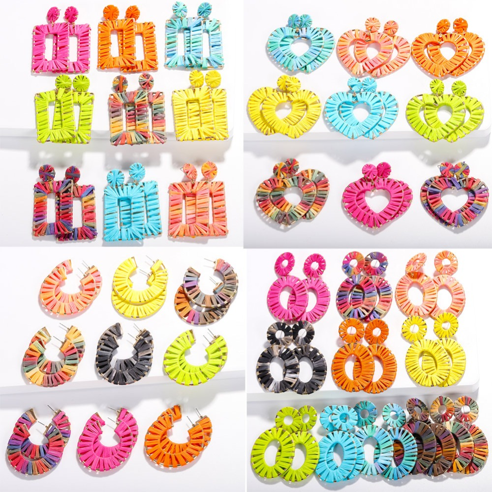 Girlgo 2019 New Fashion Raffia Love Heart Drop Dangle Earrings for Women Boho Rainbow Handmade Statement Jewelry Wholesale Gifts