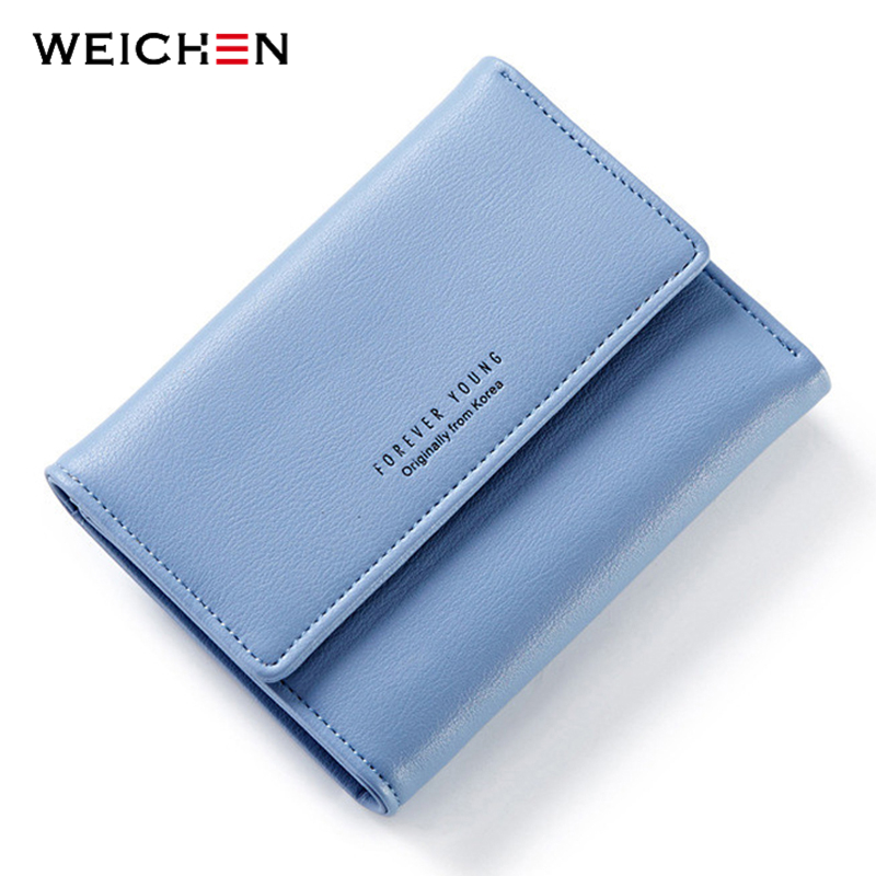 WEICHEN Brand Designer Korean Short Wallets Women Change Purse Female Wallet with Credit Card Photo Holder Girls Mini Bags