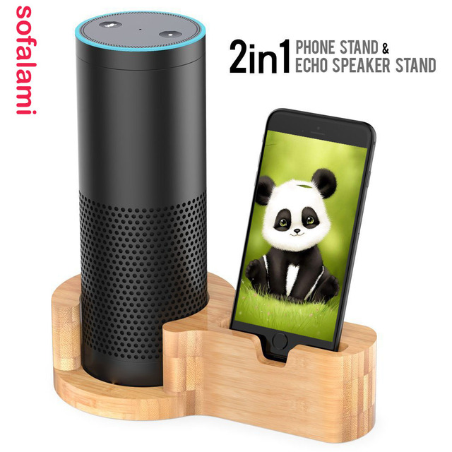 Bamboo Wood Charging Holder Speaker Stand Desktop Guard