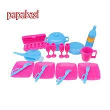Papabasi Kid's play house toys dish, pan, saucepan kitchen cooking Kit 1/6 baby dolls toy