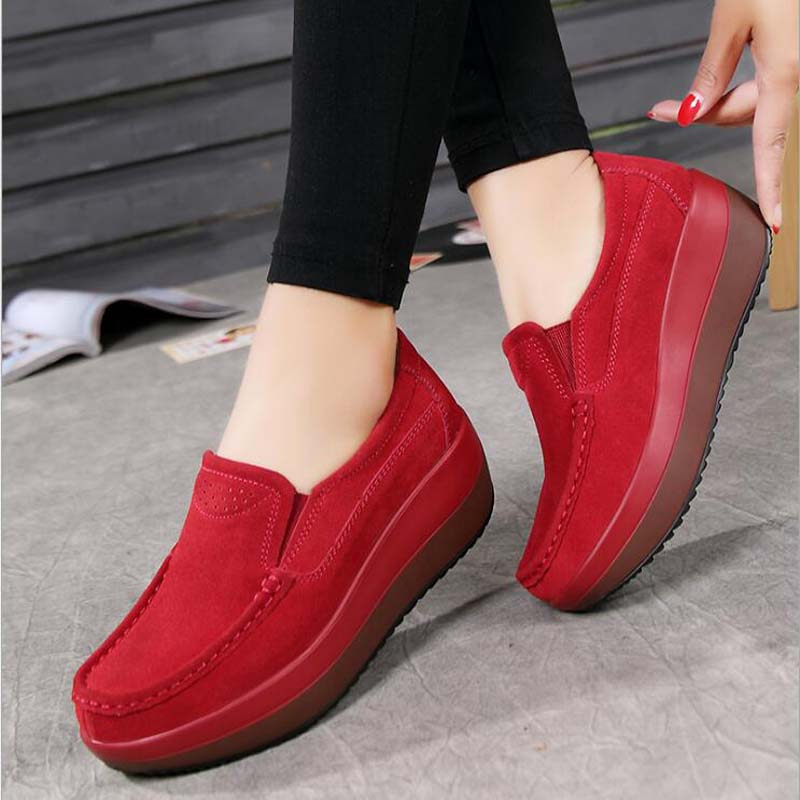 2019 Women's Shoes Ballet Cow Suede Leather Platform Woman Shoes Slip On Female Women's Loafers Moccasins Shoe