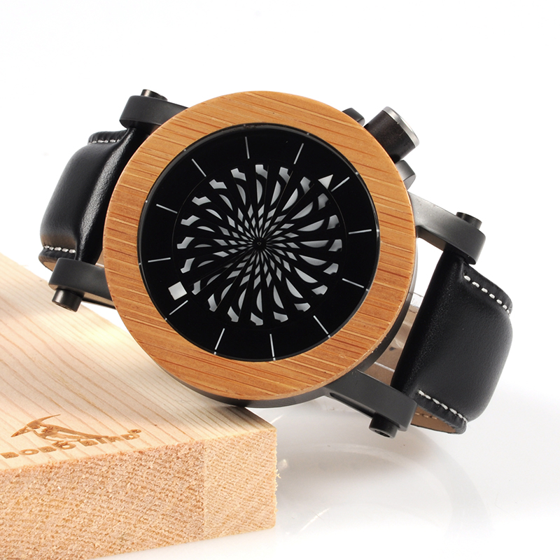 BOBO BIRD Men's Mechanical Watches Men Bamboo Quartz Watch Leather Strap Wristwatches relogio masculino Ideal Gifts Items C-M06