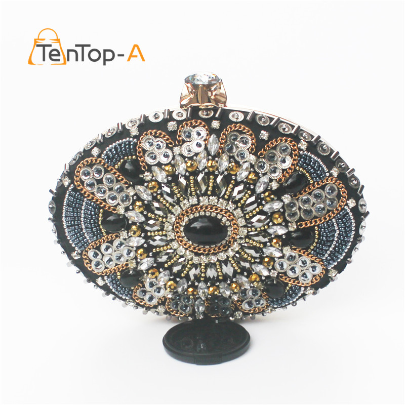 TenTop-A The New Europe Heavy Gem Diamonds Beaded Oval Evening Bags Retro Beaded Women's Clutch Purse Upscale Foreign Punk Bags платье lucky move lucky move mp002xw1f73c