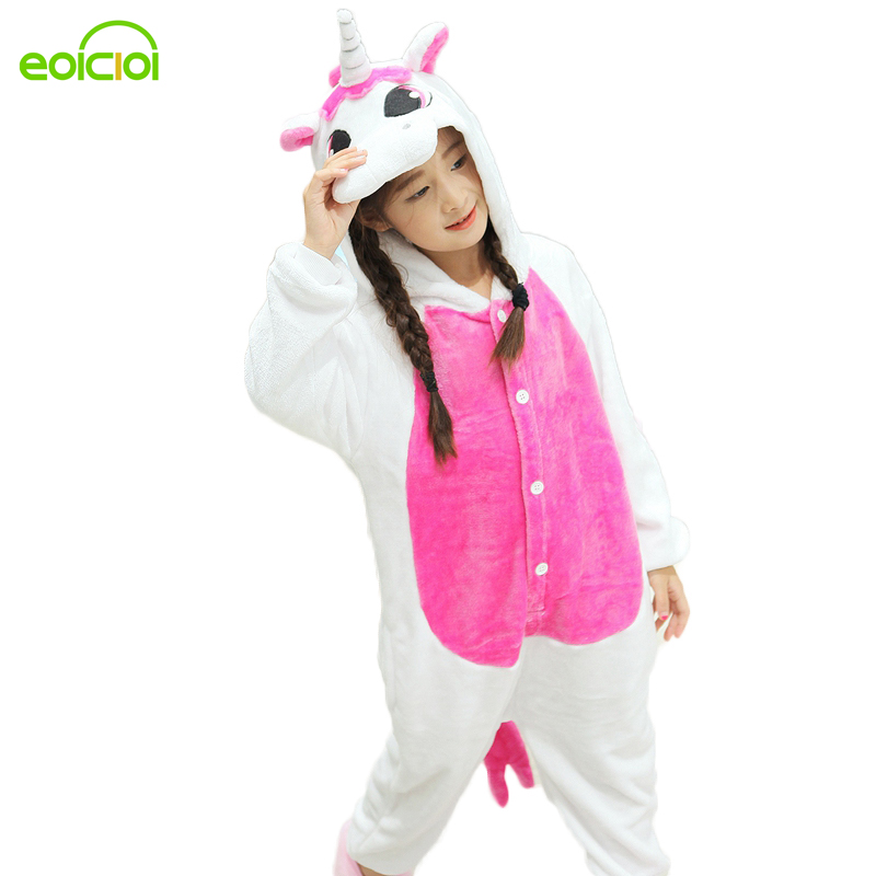 EOICIOI New Pijamas kids winter animal cartoon unicorn onesie unicorn costume child boys girls pyjama christmas kids pajama sets цена